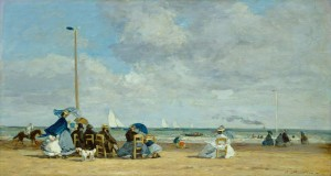 Eugène Boudin (French, 1824 - 1898 ), Beach at Trouville, 1864/1865, oil on wood, Ailsa Mellon Bruce Collection